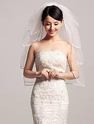 abordables -velos de copas de velo de novia de cuatro niveles con volantes de tul accesorios de boda