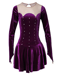 Figure Skating Dress Women's Girls' Ice Skating Dress Purple Velvet Rhinestone Performance Skating Wear Handmade Classic Long Sleeves Ice