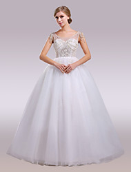 cheap -Ball Gown Scoop Neck Floor Length Satin Tulle Wedding Dress with Beading by Nameilisha
