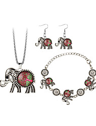 Mulheres Brincos Compridos Colar Animal Moda Estilo Boêmio Resina Liga Elefante Árvore da Vida Brincos Braceletes Colar Para Noivado