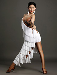 Latin Dance Women's Performance Ice Silk Crystals/Rhinestones Tassel(s) Sleeveless Natural Dress