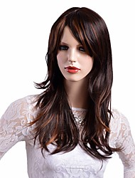 Women Synthetic Wig Capless Long Natural Wave Brown Highlighted/Balayage Hair Middle Part Natural Wigs Costume Wig