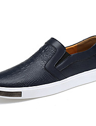 cheap -Men's Shoes Leather Fall / Winter Moccasin / Comfort Loafers & Slip-Ons White / Black / Blue