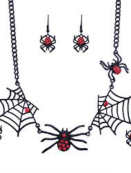 Femme énorme Halloween Scène Alliage Araignées Collier Boucles d'oreille