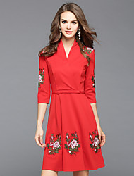 cheap -EWUS Women's Daily Going out Street chic Skater Dress,Floral Embroidered V Neck Knee-length 3/4 Length Sleeves Cotton Polyester Fall Mid Rise