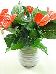 Недорогие -1bunch искусственный цветок поддельный антуриум букет свадебное оформление домашнее украшение