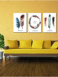 cheap -Oil Painting Hand Painted - Still Life Modern / Contemporary Canvas Three Panels