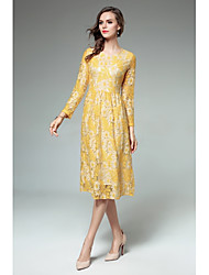 Women's Party Going out Sexy Vintage Simple Sheath Lace Dress,Floral Round Neck Midi Long Sleeves Rayon Fall Winter High Rise