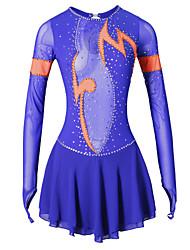 Figure Skating Dress Women's Girls' Ice Skating Dress Blue Elastane High Elasticity Classic Performance Handmade Long Sleeves Skating Wear