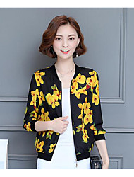 cheap -Women's Daily Simple Casual Fall Jacket,Floral Print Stand Long Sleeve Regular Others