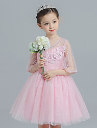 cheap -Ball Gown Princess Knee Length Flower Girl Dress - Satin Tulle Half Sleeves Jewel Neck with Flower(s) by Bflower
