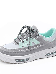 Femme Chaussures Laine synthétique Tissu Printemps Eté Confort Basket Talon Plat Bout rond Couture en Dentelle Pour Décontracté Noir Gris