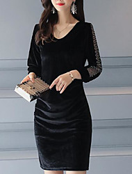 cheap -Women's Daily Sheath Dress,Print V Neck Above Knee 3/4 Length Sleeves Polyester Fall Mid Rise Micro-elastic Opaque