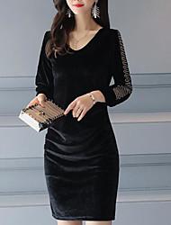 Недорогие -Для женщин На каждый день Оболочка Платье С принтом,V-образный вырез Выше колена Рукав 3/4 Полиэстер Осень Со стандартной талией