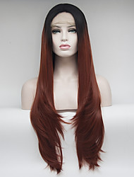 cheap -Women Synthetic Wig Lace Front Medium Length Long Straight Black/Auburn Natural Hairline Natural Wigs Costume Wig