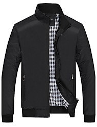 cheap -Men's Daily Going out Plus Size Vintage Active Punk & Gothic Winter Spring Jacket,Solid Stand Long Sleeve Regular Polyester