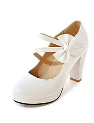 cheap -Women's Shoes Leatherette Fall Novelty / Comfort Heels Round Toe Bowknot for Dress White / Black / Red