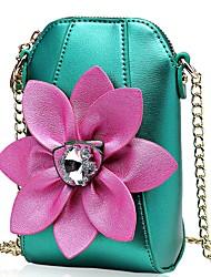 cheap -Women Bags PU Coin Purse Crystal Detailing Flower(s) for Shopping Casual All Seasons Yellow Light Green Fuchsia Light Purple Light Grey