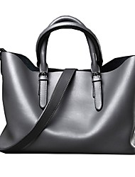 cheap -Women Bags Cowhide Shoulder Bag Zipper for Wedding Event/Party Casual Formal Office & Career All Seasons Black Gray