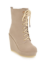 cheap -Women's Shoes Fleece Fall / Winter Fashion Boots Boots Wedge Heel Booties / Ankle Boots Black / Beige / Brown