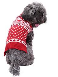 baratos -Cachorro Súeters Roupas para Cães Natal Floco de Neve Vermelho Ocasiões Especiais Para animais de estimação