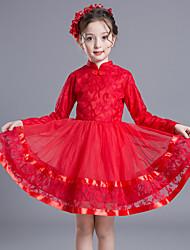 abordables -Robe Fille de Couleur Pleine Coton Rayonne Polyester Hiver Automne Manches Longues Rétro Soirée Elégant & Luxueux Rouge Rose Claire