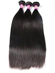 economico -Brasiliano Liscio Capello vergine Ciocche a onde capelli veri 3 pacchetti Tessiture capelli umani Nero Naturale Estensioni dei capelli umani / Dritto