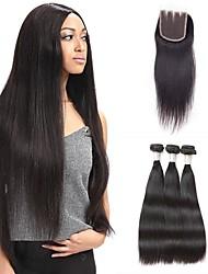 Недорогие -Бразильские волосы Классика Ткет человеческих волос 4 предмета Высокое качество Повседневные
