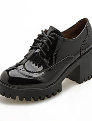 cheap -Women's Shoes PU Fall Winter Combat Boots Oxfords Round Toe Booties/Ankle Boots Lace-up For Casual Black