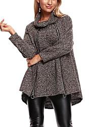 Damen Einfarbig Einfach Lässig/Alltäglich Übergröße Mantel,Rundhalsausschnitt Herbst Winter Lange Ärmel Lang Polyester