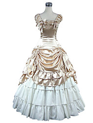 cheap -Sweet Lolita Dress Classic Lolita Dress Medieval Victorian Satin Women's Girls' Dress Cosplay Golden Sleeveless Floor Length