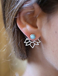 cheap -Women's Turquoise Front Back Earrings / Ear Jacket - Resin Flower Vintage, Fashion Gold / Silver For Daily