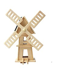 cheap -RUOTAI 3D Puzzles Wood Model Windmill Solar Powered Wood Gift