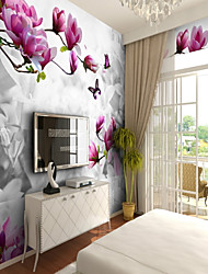 cheap -Pattern 3D Flower/Floral Wallpaper For Home Rustic Wall Covering , Canvas Material Adhesive required Wallpaper , Room Wallcovering