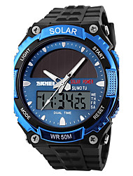 cheap -SKMEI Men's Sport Watch Wrist Watch Quartz 30 m Water Resistant / Water Proof Alarm Calendar / date / day Plastic Band Analog-Digital Dress Watch Black - Silver Red Blue / Chronograph / Stopwatch