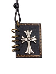 cheap -Men's Women's Cross Locket Shape Personalized Fashion Pendant Necklace Wood Alloy Pendant Necklace Going out Street