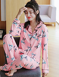 cheap -Women's Pajamas Medium Cotton Roman Knit Blue Blushing Pink