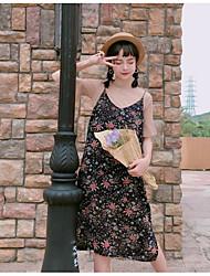 abordables -Mujer Vintage Noche Verano T-Shirt Falda Trajes,Escote Redondo Estampado Manga Corta