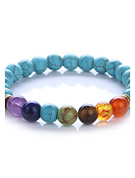 cheap -Men's Women's Turquoise Synthetic Amethyst Turquoise Ball Strand Bracelet - Handmade Adjustable Round Rainbow Bracelet For Gift Daily