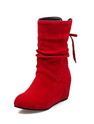 cheap -Women's Shoes Leatherette Fall Winter Fashion Boots Boots Wedge Heel Round Toe Booties/Ankle Boots Buckle For Casual Dress Red Beige Black