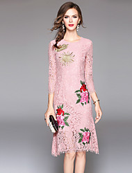 cheap -Women's Vintage Sophisticated Bodycon Dress - Embroidered Lace