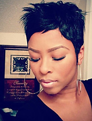женщины человеческие волосы capless парики средний каштановые черные короткие прямые части стороны