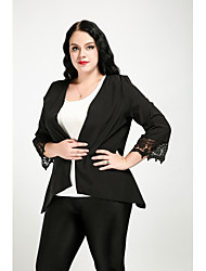 cheap -Cute Ann Women's Cute Street chic Plus Size Blazer-Solid Colored,Lace Shirt Collar