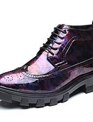 preiswerte -Herrn Schuhe Leder Frühling Herbst Tauchschuhe Modische Stiefel Stiefel Booties / Stiefeletten Applikationen für Normal Schwarz Rot