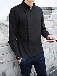 cheap -Men's Vintage Chinoiserie Plus Size Linen Shirt - Solid Standing Collar
