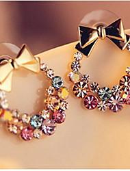 abordables -Mujer Pendientes cortos Cristal Clásico Bling Bling Brillante Legierung Forma de Lazo Joyas Para Diario Noche