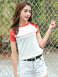 preiswerte -Damen Kunst-Pelz Kurzarm Pullover-Einfarbig