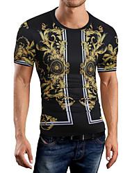 cheap -Men's T-shirt,Print Round Neck Short Sleeves Cotton