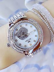 baratos -Mulheres Relógio de Pulso Japanês Relógio Casual Aço Inoxidável Banda Amuleto Prata
