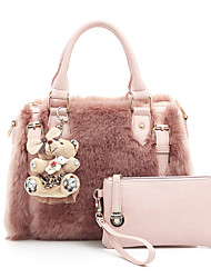 cheap -Women Bags Fur Bag Set 2 Pieces Purse Set Zipper for Shopping Casual All Seasons White Black Blushing Pink